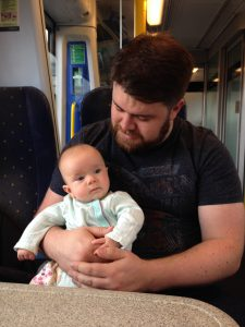 Baby Sophie's first train journey